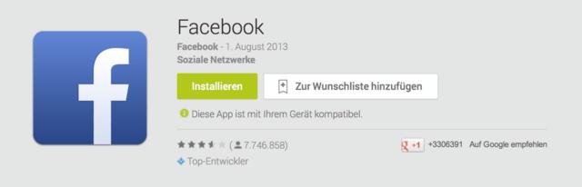 Facebook-App für Android