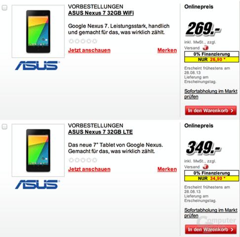 Nexus 7 bei Media Markt