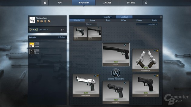 Inventar mit Waffen