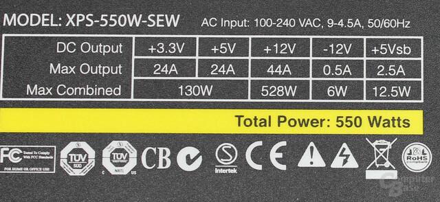 XFX Pro Series Full Wired Edition 550W Datenblatt