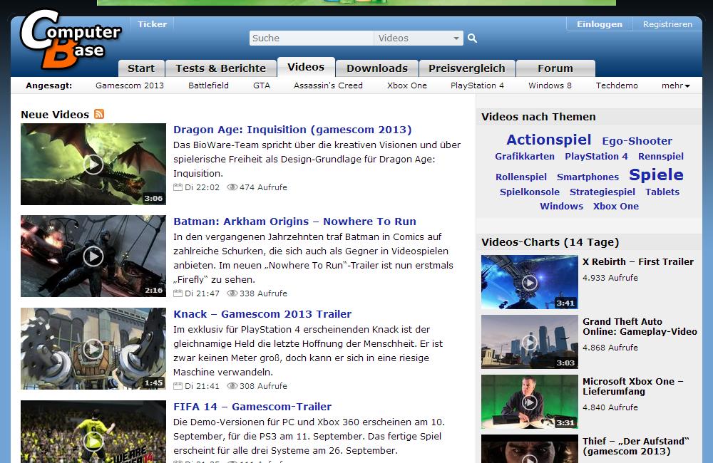 """Neue Navigation: Startseite der Sektion """"Videos"""""""