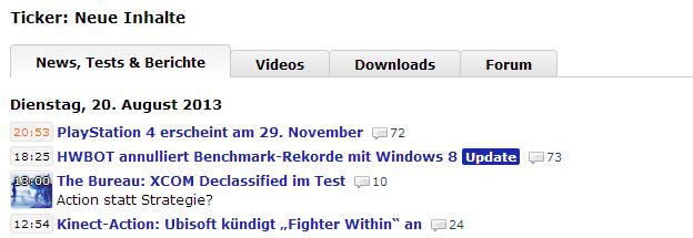 Neue Ticker-Seite: zu sehen sind drei News und ein Test