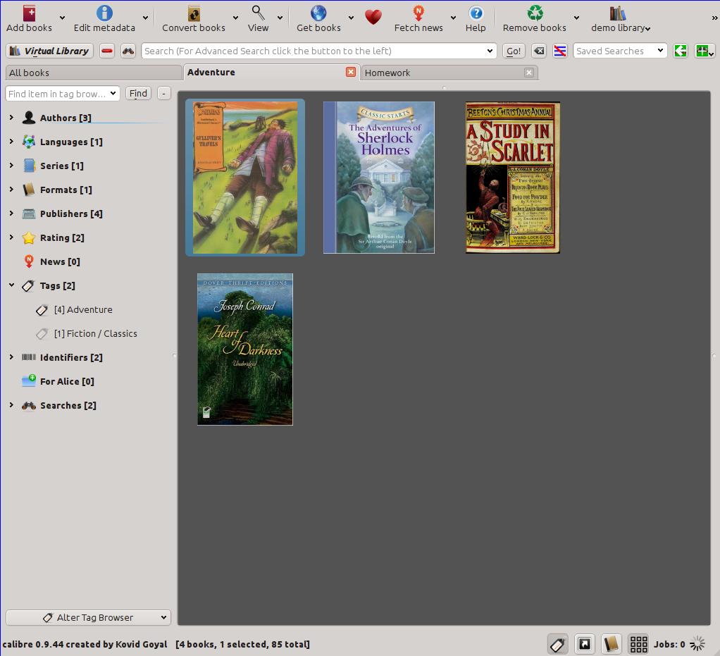 Calibre Virtuelle Bibliothek