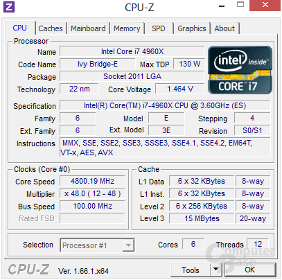 Intel Core i7-4960X übertaktet