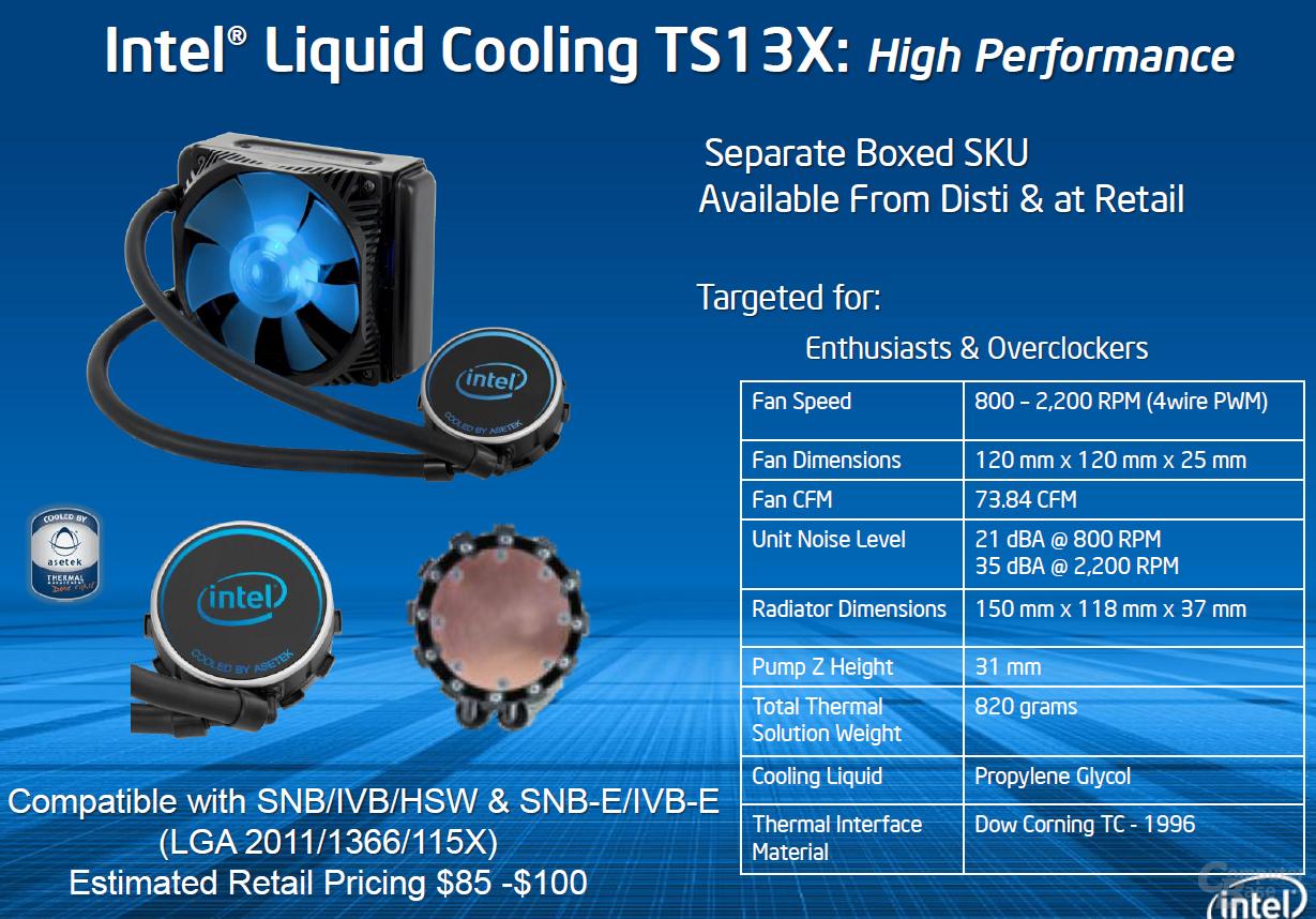 Intel TS13X Kompaktwasserkühlung