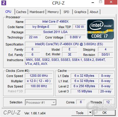 Intel Core i7-4960X im Leerlauf