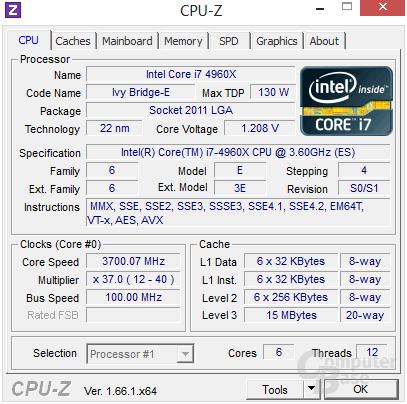 Intel Core i7-4960X mit Turbo für alle Threads