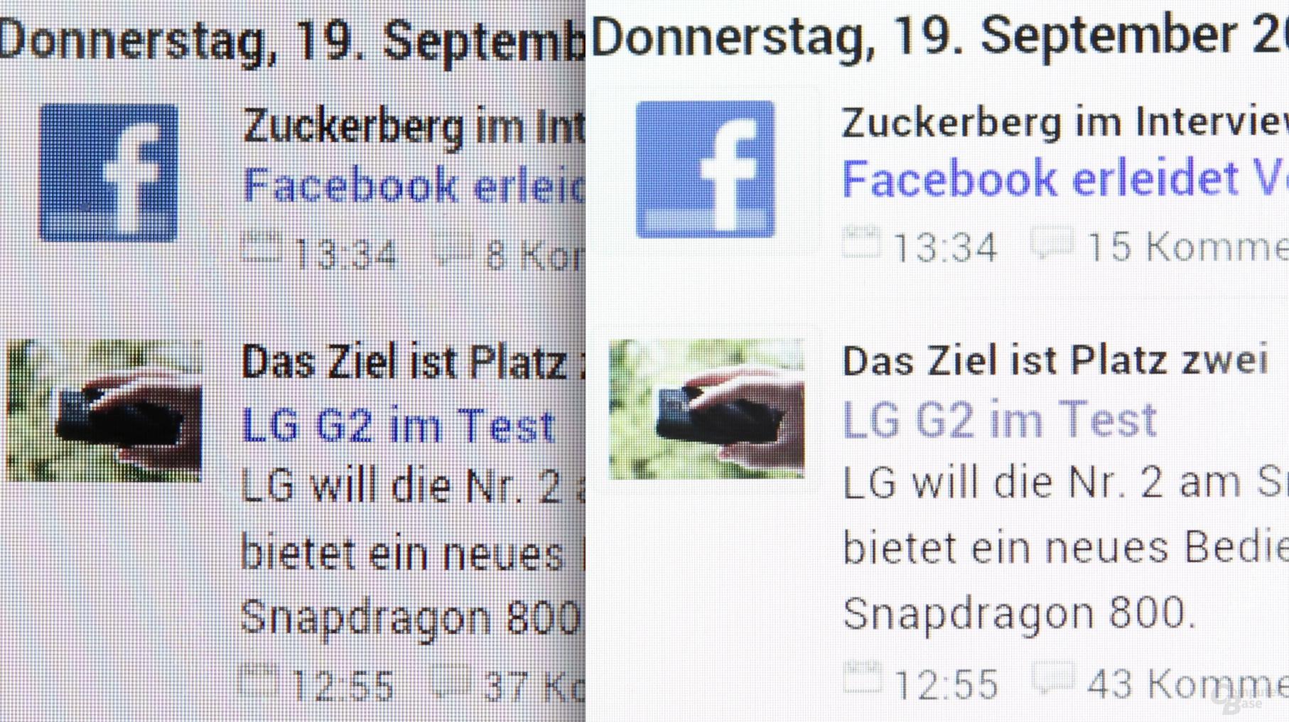 Nexus 7 2012 (links) vs. Nexus 7 2013 (rechts)