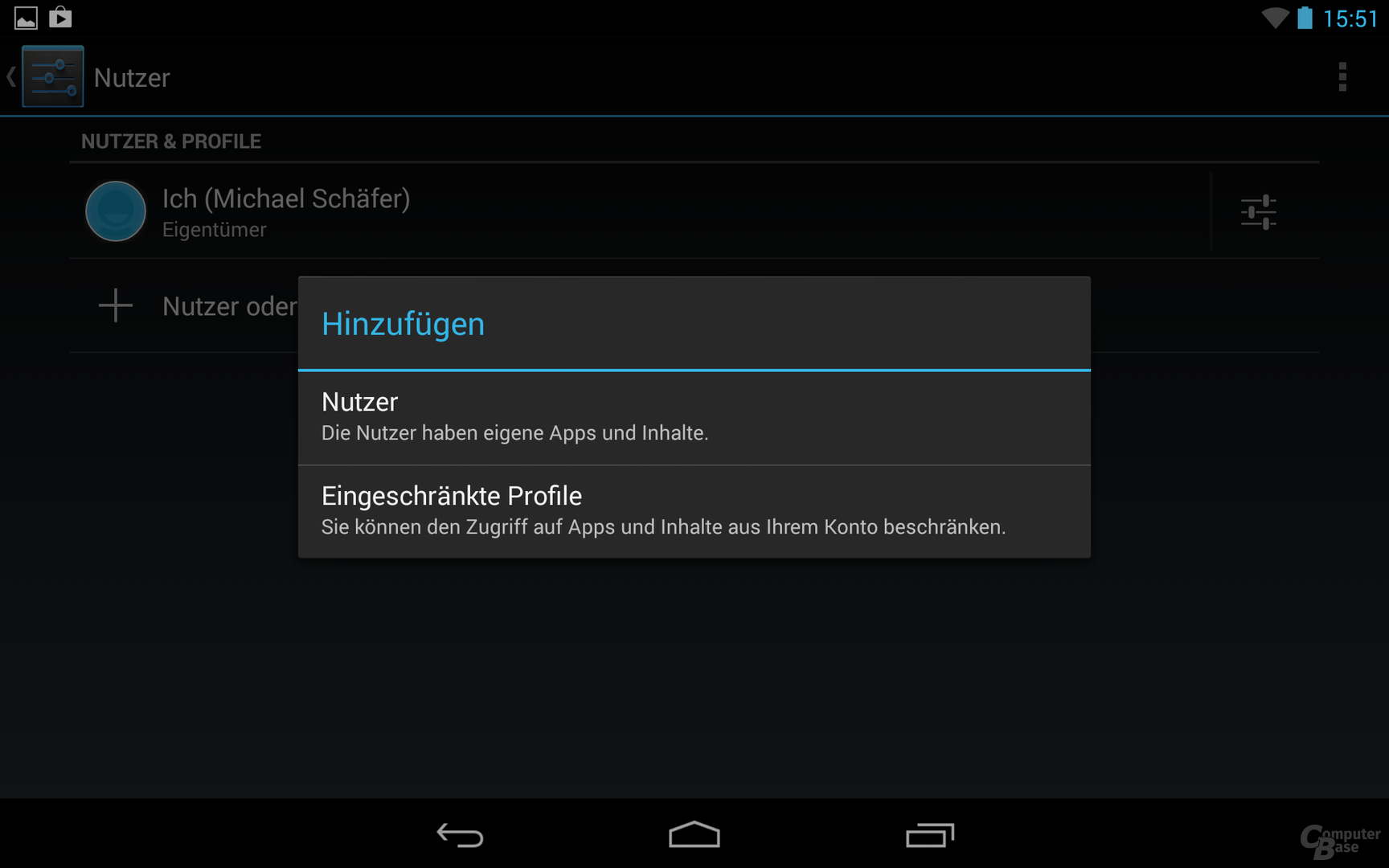 Nexus 7 2013 Multiuser-Verwaltung