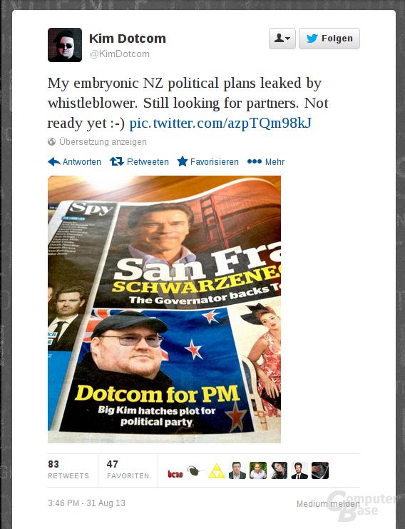 Dotcoms Tweet zur Parteigründung
