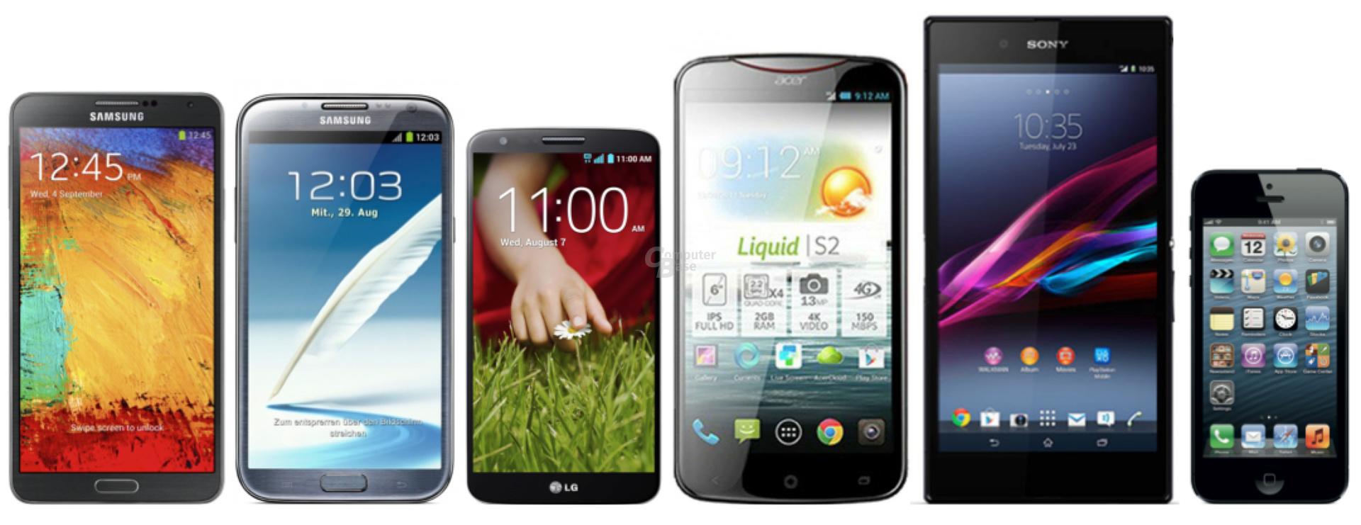 Samsung Galaxy Note 3, Note II, LG G2, Acer Liquid S2, Sony Xperia Z Ultra und Apple iPhone 5 (v.l.n.r.)