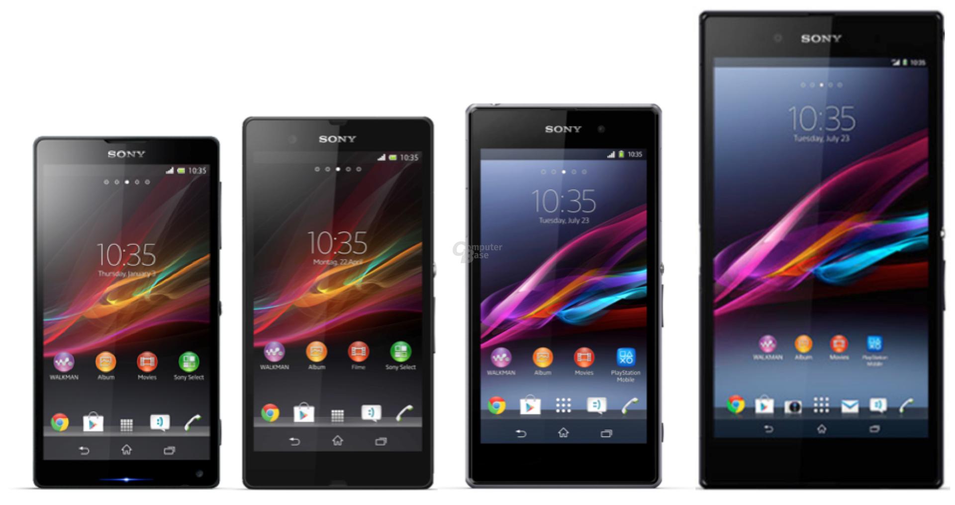 Sony Xperia ZL, Z, Z1 und Z Ultra im Vergleich (v.l.n.r.)