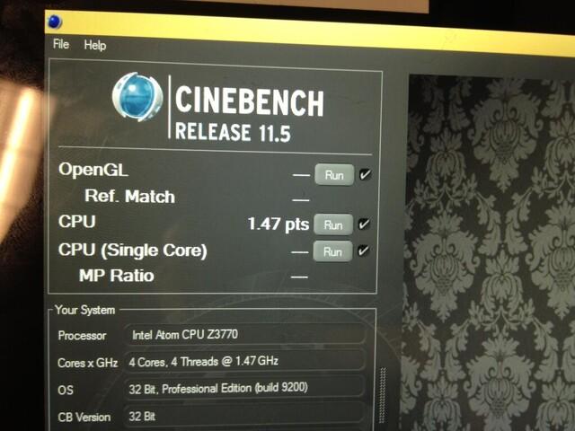 """Intel Atom Z3770 """"Bay Trail"""" im CineBench 11.5"""