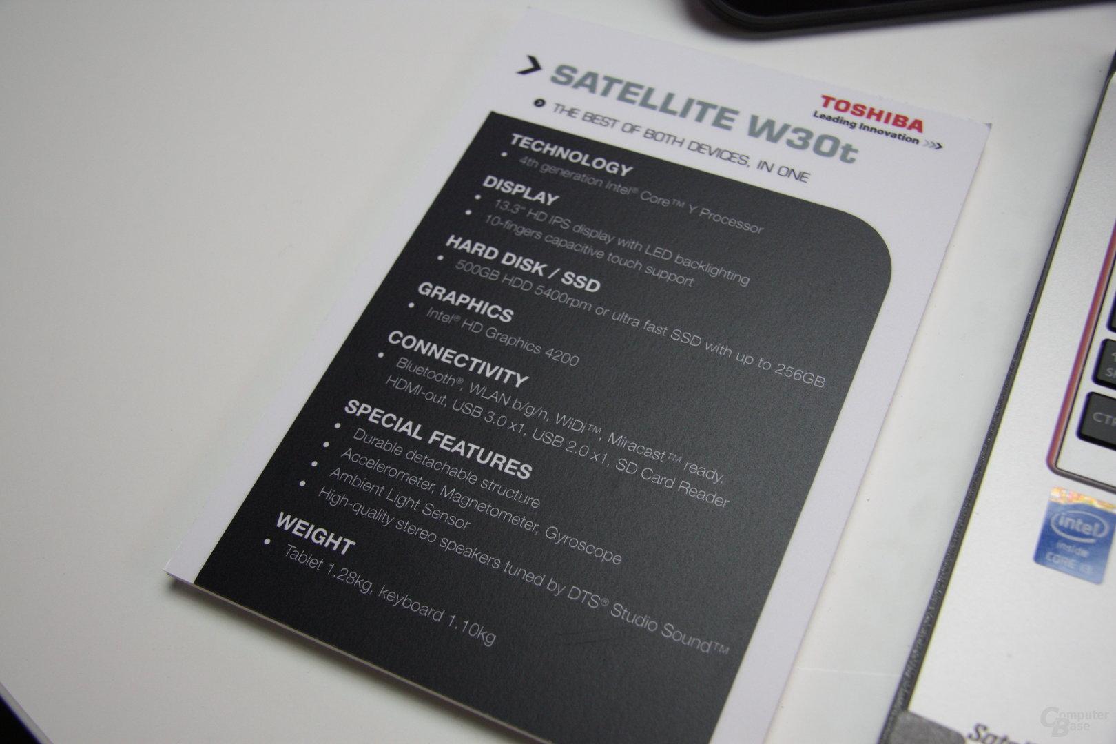 Toshiba Satellite W30t (Intel)