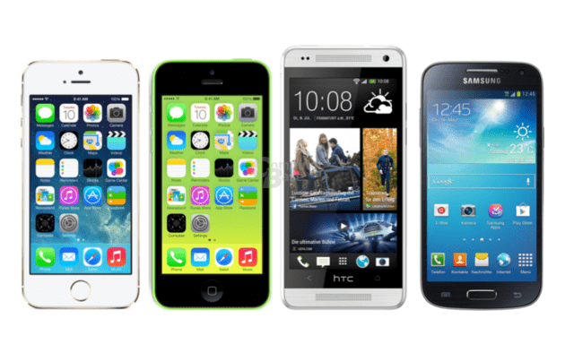 v.l.n.r.: iPhone 5S, iPhone 5C, HTC One Mini, Samsung Galaxy S4 mini