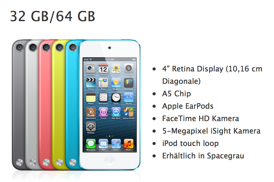 """Der Apple iPod touch in """"Spacegrau"""" (links)"""