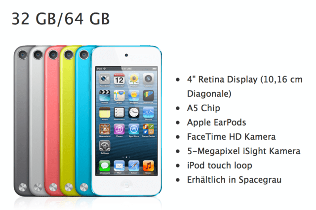 "Der Apple iPod touch in ""Spacegrau"" (links)"