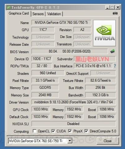 Nvidia GeForce TX 750 Ti GPU-Z