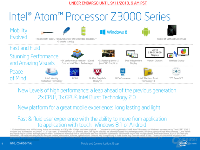 Intel Präsentation zu den Atom Z3000 (IDF 2013)
