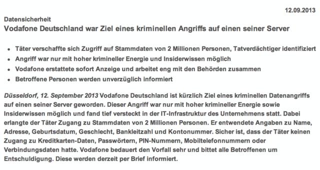 Auszug aus der Vodafone Pressemitteilung