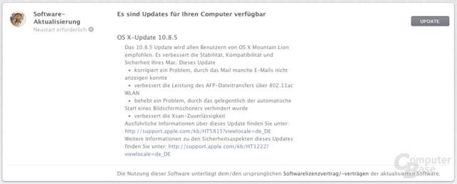 Update auf OS X 10.8.5