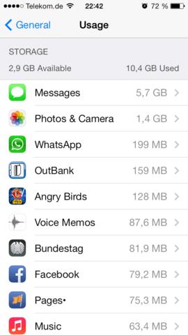 Speicherbedarf iMessage unter iOS 7