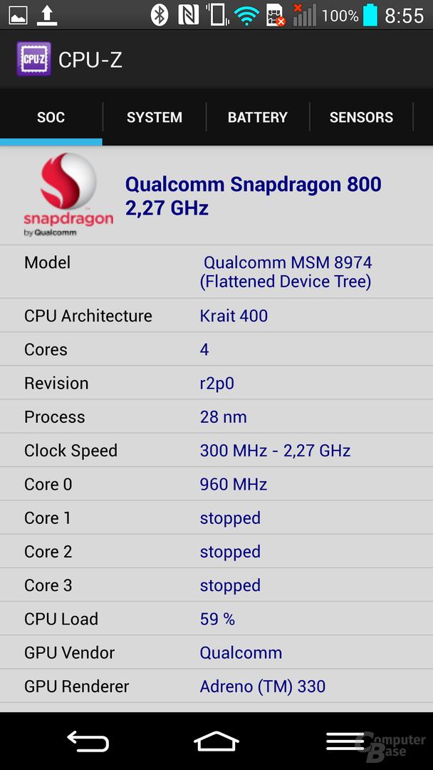 LG G2 – CPU-Z-Informationen 1/2