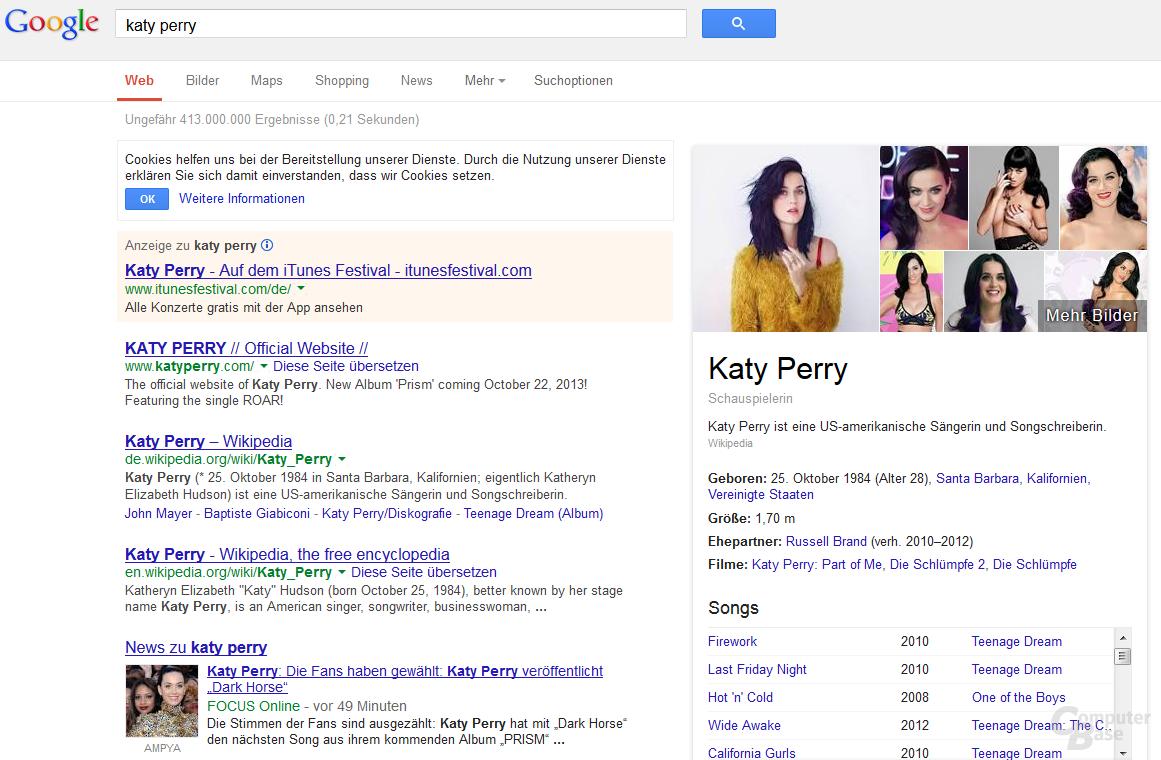 Aktuelle Suchergebnisseite von Google