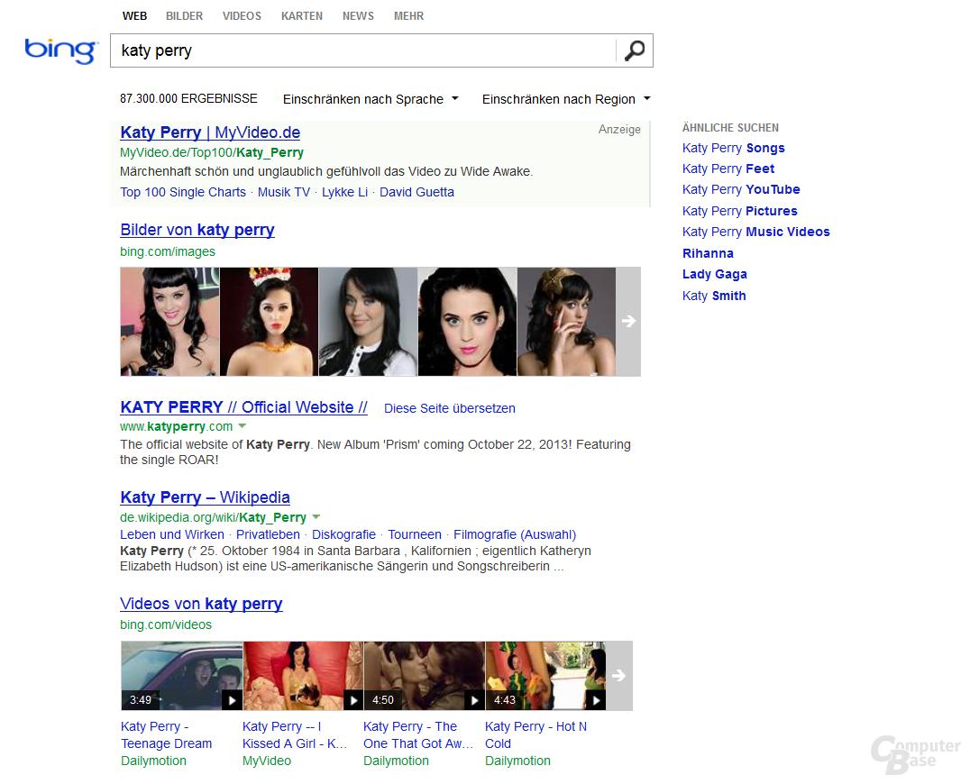 Aktuelle Suchergebnisseite von Bing
