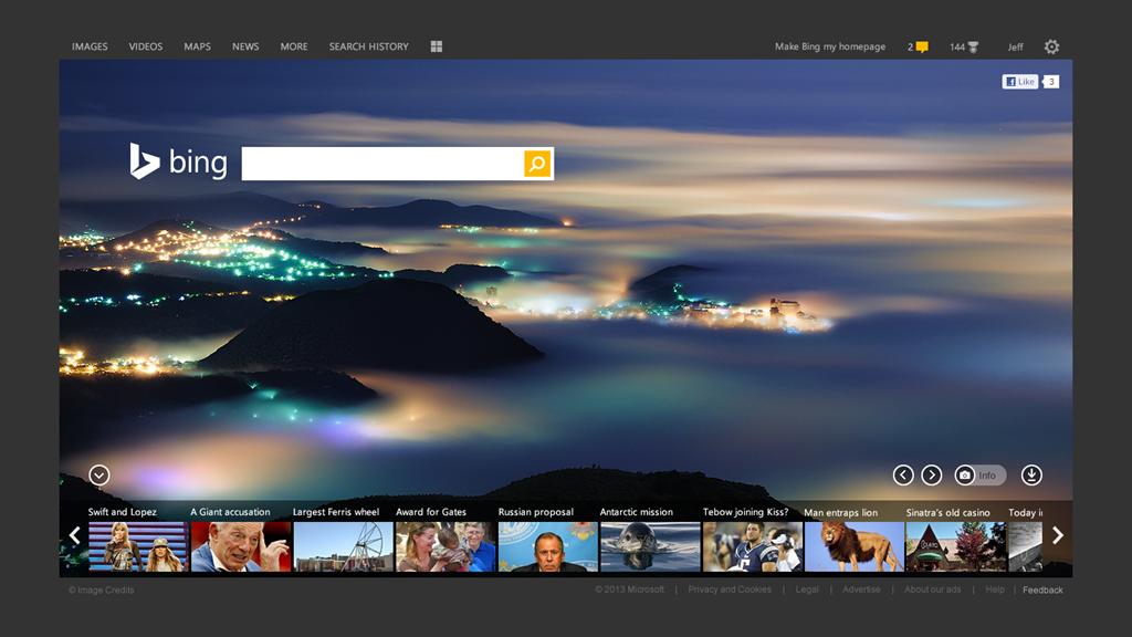 Neuer Look der Startseite von Bing
