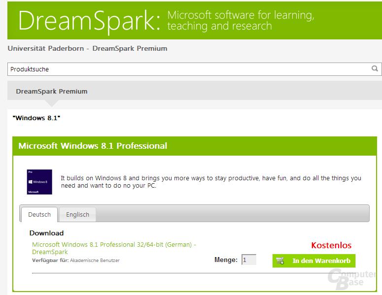 Windows 8.1 Download in DreamSpark