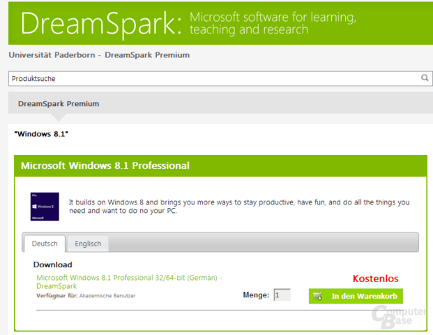 Windows 8.1 Download in DreamSpark