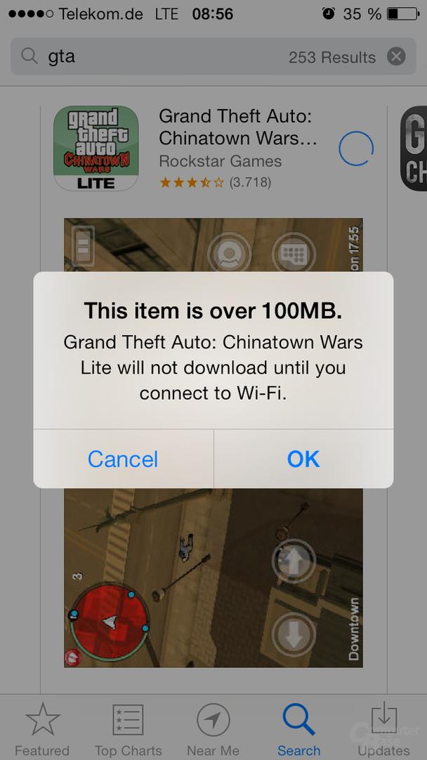 Maximal 100 MB mobil