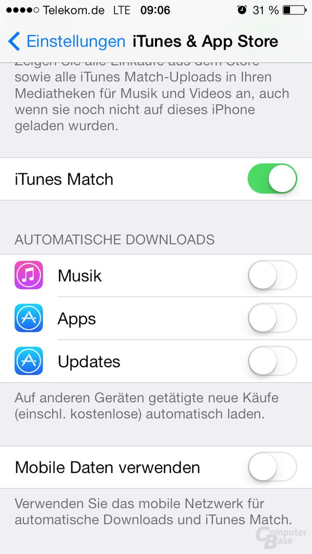 Einstellungen -> iTunes & App Store