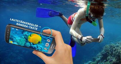 Von Samsung beworben, offiziell aber nicht erlaubt: Das Active im Meer