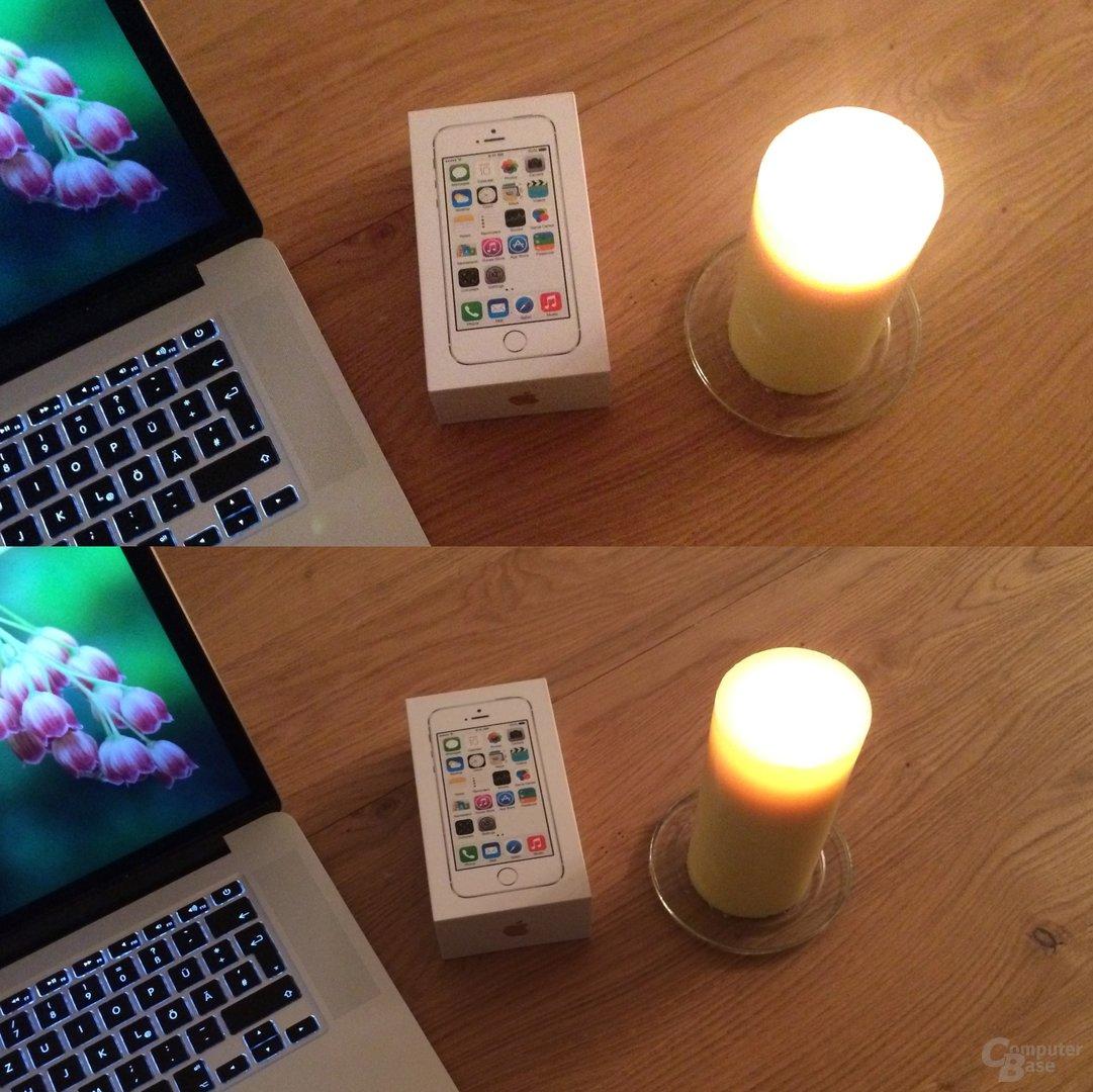 Apple iPhone 5/5S – Weniger Rauschen und mehr Details (Kerze)