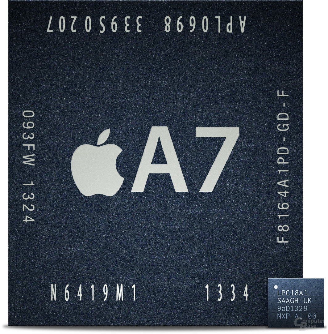 Apple A7 (S5L8960X) & M7 (LPC18A1) Größenvergleich