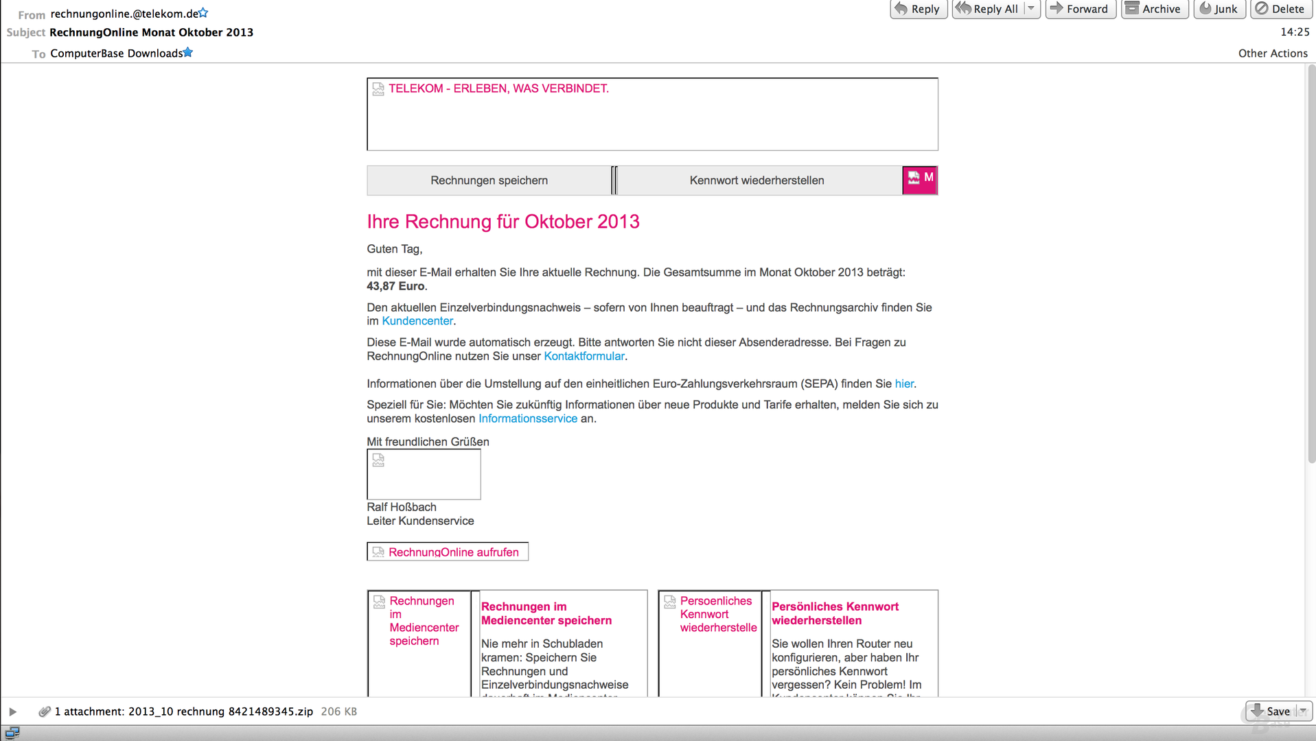 Gefälschte Telekom-Rechnung mit Trojaner-Anhang