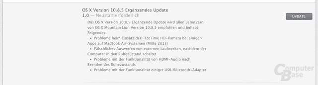 Ergänzendes Update für OS X 10.8.5