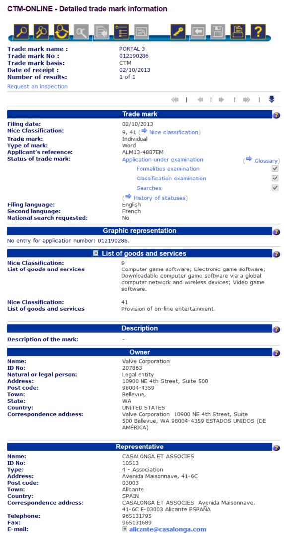 Warenzeichen-Antrag für Portal 3