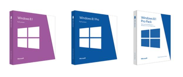 Die Verkaufsverpackungen von Windows 8.1