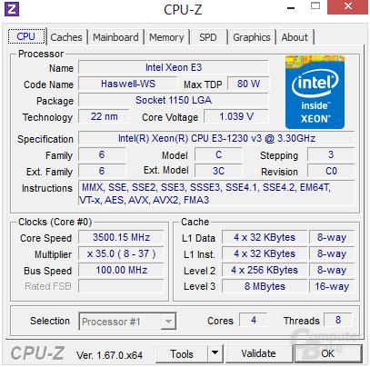Intel Xeon E3-1230 v3 im Turbo undervoltet