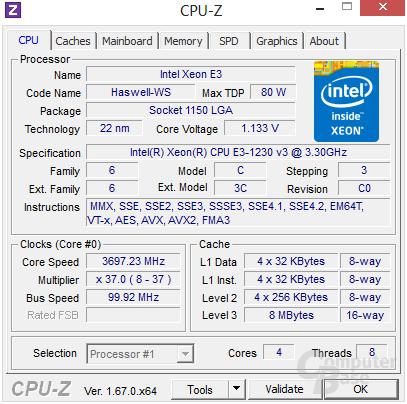 Intel Xeon E3-1230 v3 im maximalen Turbo