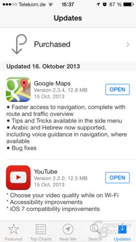 Changelog Google Maps & YouTube