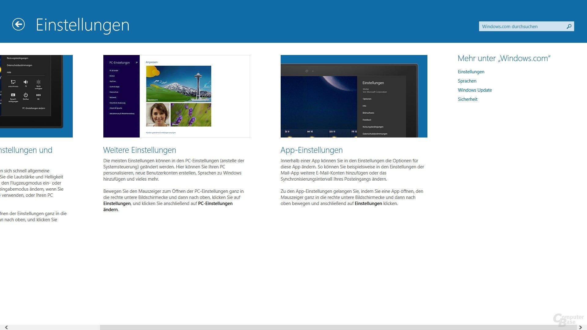 Hilfe und Tipps mit Suche auf der Windows-Homepage