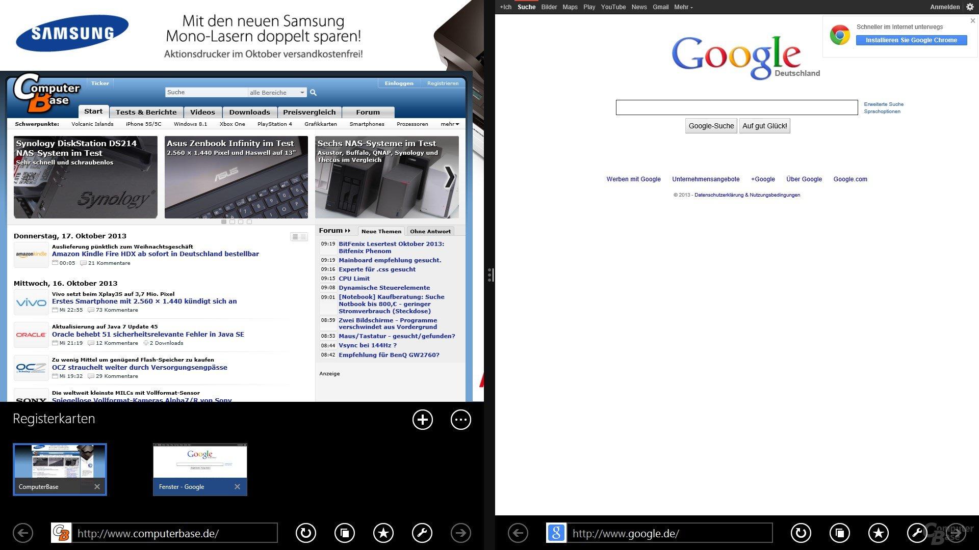 Internet Explorer 11 – Snap View für Tabs