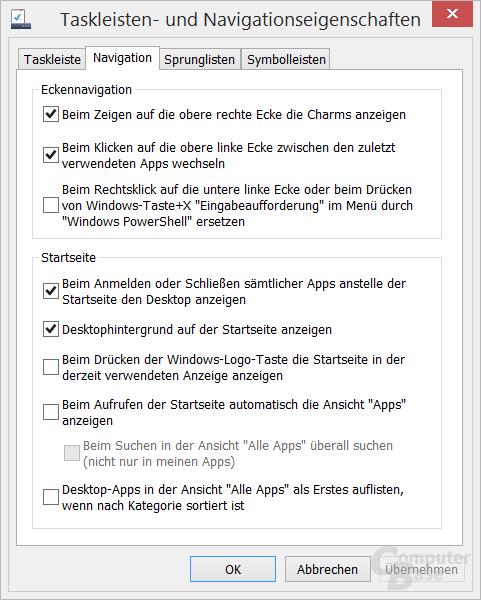 Konfiguration der Ecken, Apps und Start zum Desktop