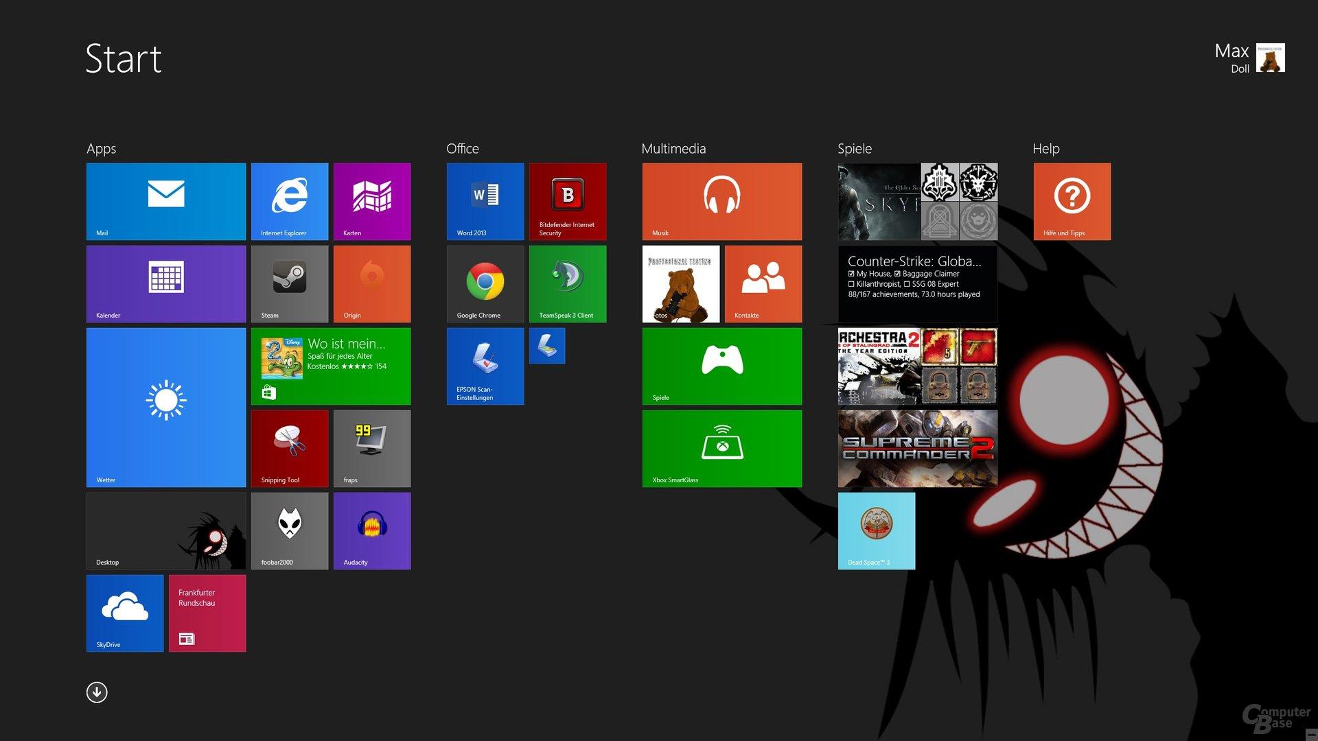 Neue Kachelgrößen und Desktop-Hintergrund