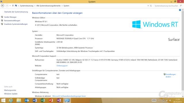 Surface 2 mit Tegra 4 und Windows RT