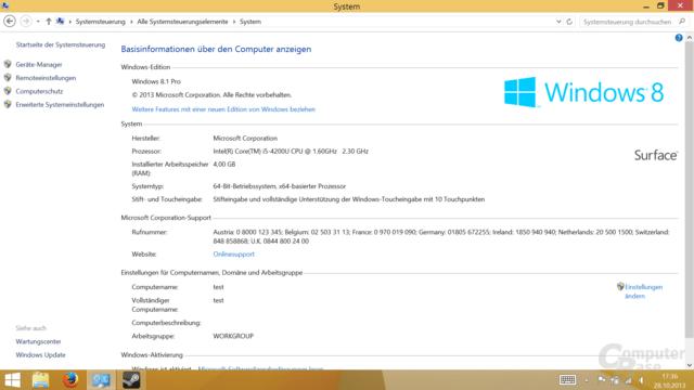 Surface Pro 2 mit i5-4200U und Windows 8.1 Pro